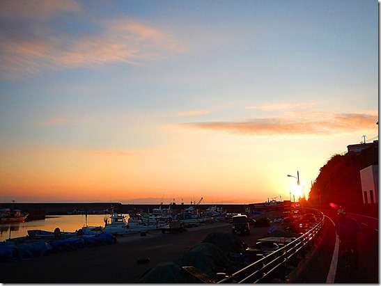 土生港と夕焼け